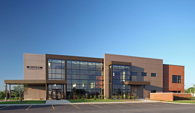 Evan Lloyd Architects provided architectural services for Illinois State Police Federal Credit Union (ISPFCU) in Springfield, Illinois, designing a new 2-story office building. Services included programming, site selection, preliminary design, estimating, color renderings, construction document development, interior design, furniture and artwork selection, landscape design, bidding administration and construction administration.